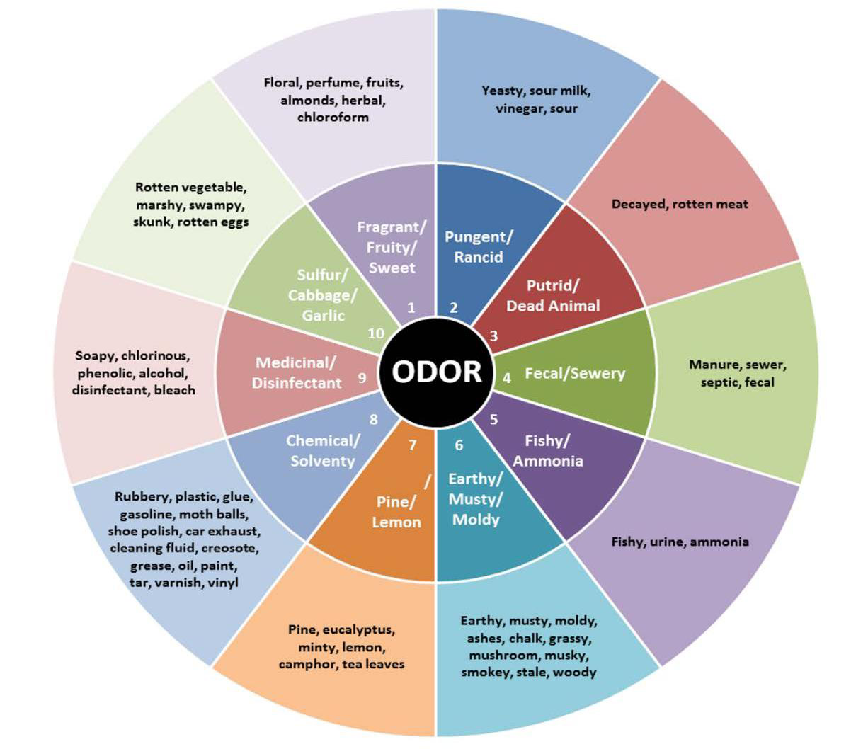 Odor Wheel description graph